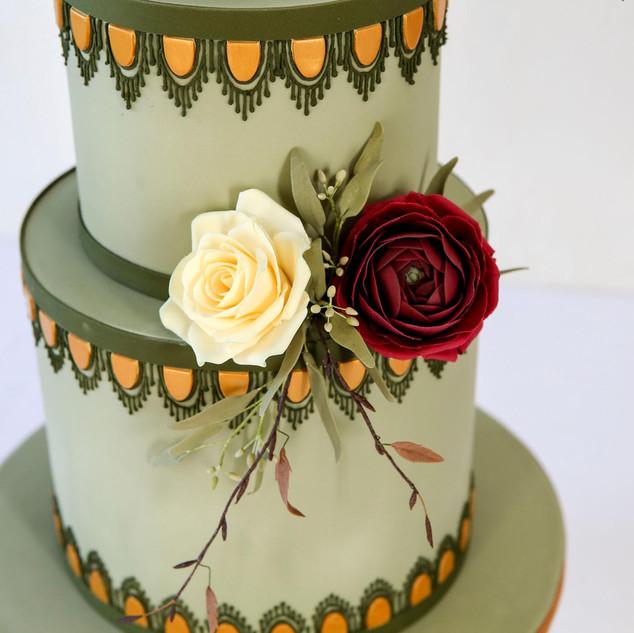 Detail of handmade sugar flowers.