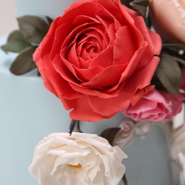 Sugarpaste coral garden rose.