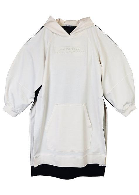 Laura Hoodied Sweatshirt -Ivory/Navy