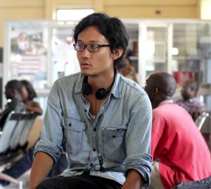 "Takeshi Fukunaga filming "" in Liberia."