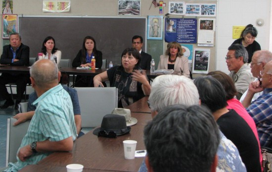 Representatives of Metro and its affiliates hold a Q&A session with member of the Little Tokyo community, including Ellen Endo (center) of the Little Tokyo Business Association Little Tokyo Business Improvement District.