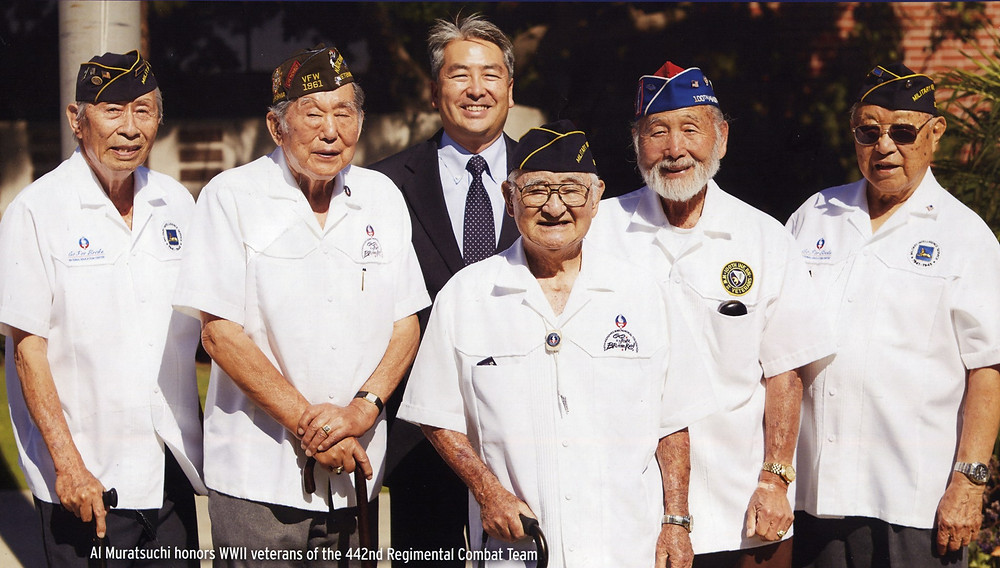 Al Muratsuchi in a photo taken in 2014 with veterans (from left) Victor Abe, James Ogawa, Ralph Kaneshiro, Mas Takahashi and Ken Akune.