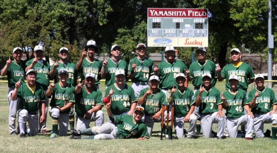 The Lodi JACL Templars pose at Mauch Yamashita Field with their trophy.