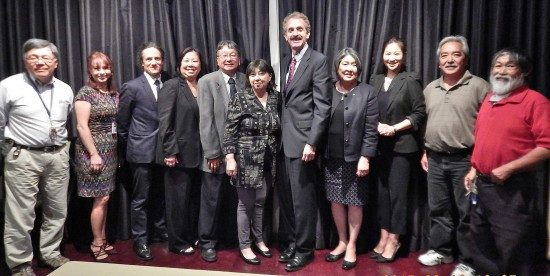 Left to right- Ted Oyama, West L.A. Neighborhood Prosecutor Veronica de la Cruz-Robles, Downtown Neighborhood Prosecutor Kurt Knecht, Nancy Takayama, Chris Komai, Ellen Endo, City Attorney Mike Feuer, Joanne Kumamoto, Cindy Shin of the City Attorney's office, Brian Kito, and Frank Wada.