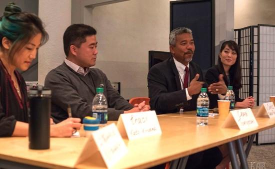 From left: Panelists traci kato-kiriyama, Craig Tomoyoshi, Curtis Takada Rooks, Kodama. (Photo by Kelley Rich)