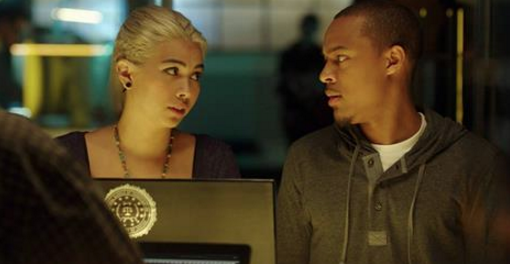 """Haley Kiyoko as Raven and Shad Moss as in a scene from """"CSI: Cyber."""" (CBS)"""