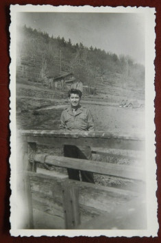 Calvin Tajima in Germany, where he served with the Army during World War II.