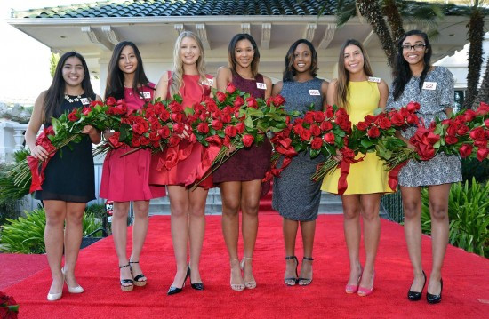 Tournament of Roses' 2016 Rose Court (from left): Sarah Shaklan, Rachelle Liu, Erika Winter, Bryce Bakewell, Regina Pullens, Natalie Hernandez-Barber, Donaly Marquez.