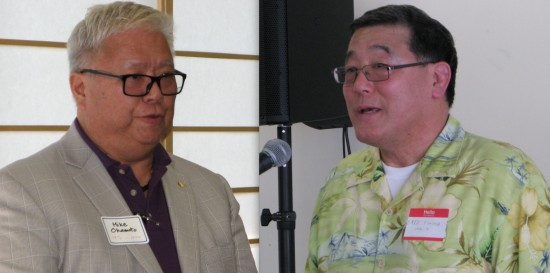 Left: Mike Okamoto is a 1974 graduate of Waseda and a member of the university's alumni association. Right: Fred Fujioka (1970-71) is now a Los Angeles County Superior Court judge.