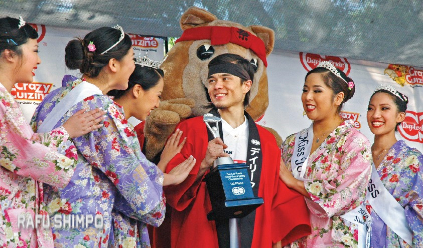 Matt Stonie repeated as champ and won $1,600, as well as the adulation of the Nisei Week Queen and Court.