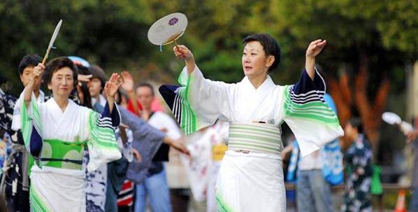 Dance instructors Michiya Hanayagi (left) and Michisuya Hanayagi are regulars at the Berkeley Obon.