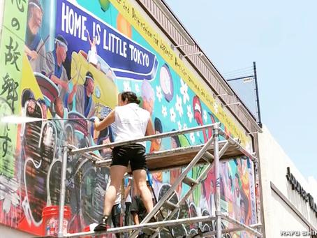 小東京の壁画、元の姿に:落書き除去作業実施
