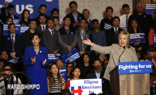 Democratic presidential candidate Hillary Clinton was introduced by Rep. Judy Chu, chair of the Congressional Asian Pacific American Caucus. (MARIO G. REYES/Rafu Shimpo)