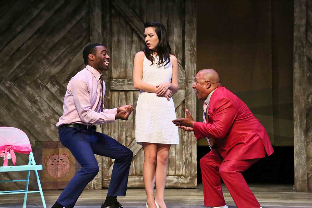 "Christian Telesmar as Da'Ran, Jacqueline Misaye as Sophie, and Mel Hampton as Pastor Ernest in East West Players' production of ""Kentucky."" (Photo by Michael Lamont)"