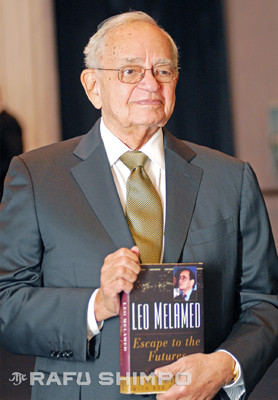 """Leo Melamed shows his memoir, """"Escape to the Futures,"""" Tuesday night in Beverly Hills."""