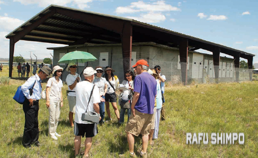 Tule Lake Pilgrimage participants in front of the former site of the camp jail. (MARIO G. REYES/Rafu Shimpo)