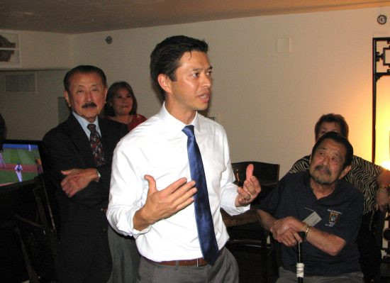 Jeffrey Maloney addresses his supporters, including former Assemblymember George Nakano (left) of Torrance and Alhambra City Councilmember Gary Yamauchi (right).