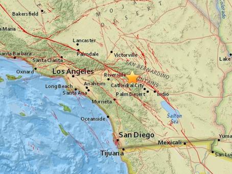 リバーサイド郡でM4・5地震:LAでも揺れ感じる