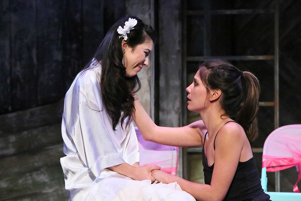"Jacqueline Misaye as Sophie and Jessica Jade Andres as Hiro in East West Players' West Coast premiere of ""Kentucky"" by Leah Nanako Winkler. (Photo by Michael Lamont)"