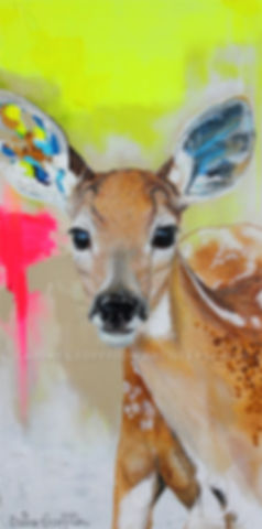 Artiste peintre animalier toile cerf