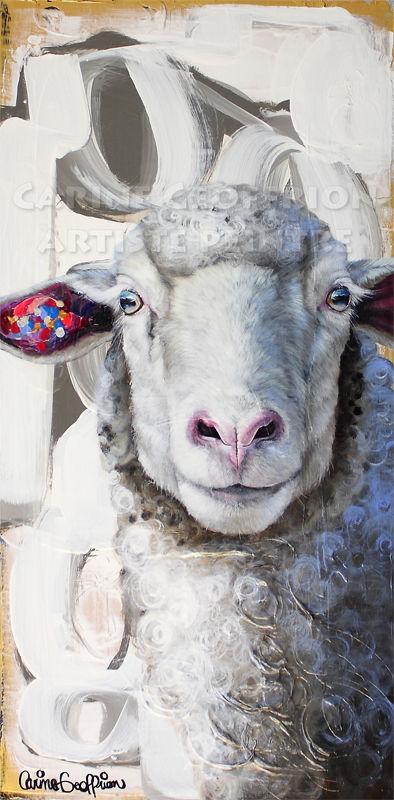 Peinture mouton brebis artiste peintre