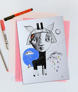 Illustration enfant girafe arc-en-ciel oeuvre artiste peintre