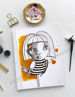 Oeuvre papier illustration fille oiseau jaune artiste peintre québécoise