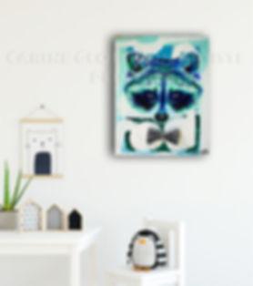 Toile artiste peintre raton laveur peinture