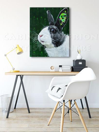 Toile lapin artiste peintre animalier