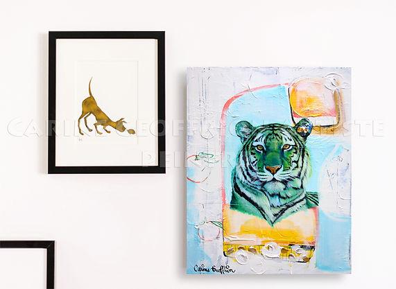 Toile tigre artiste peintre