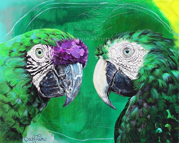 Artiste peintre québécoise toile oiseaux perroquets