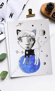 illustration garcon chat artiste peintre planète bleue