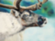 Artiste peintre québécoise toile caribou renne