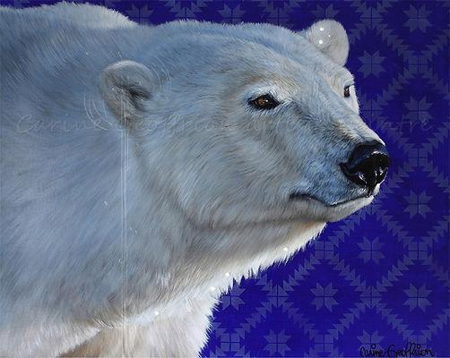 Peinture ours polaire artiste peintre animalier