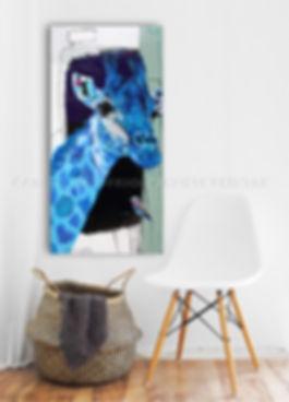 Artiste peintre animalier toile girafe et oiseau