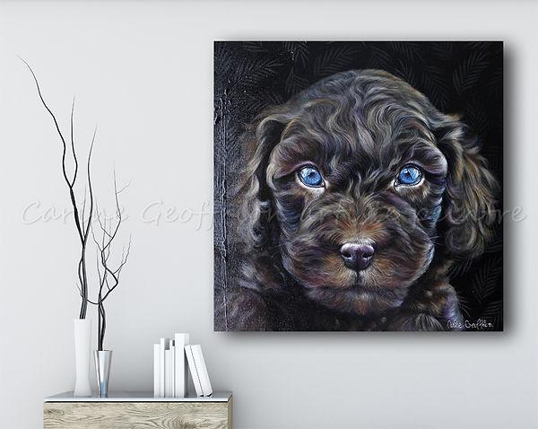Peinture artiste peintre animalier chien