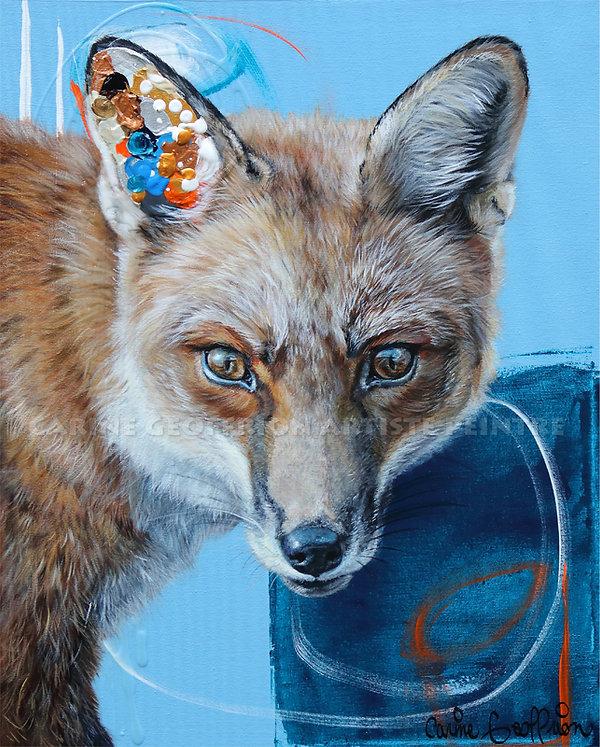 Artiste peintre animalier toile renard