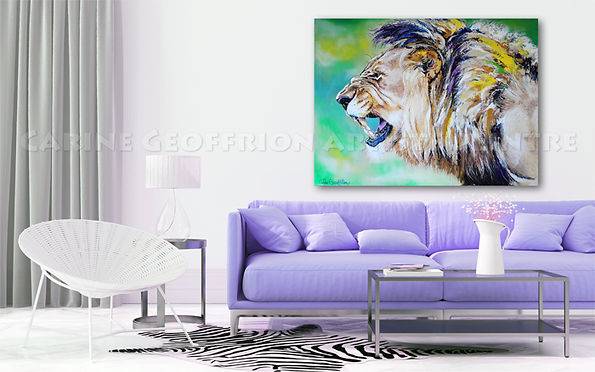 Toile artiste peintre lion