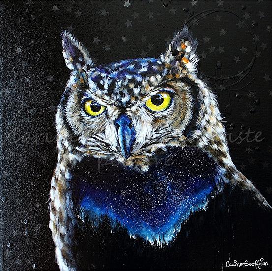 Peinture artiste peintre animalier hibou owl toile québécoise