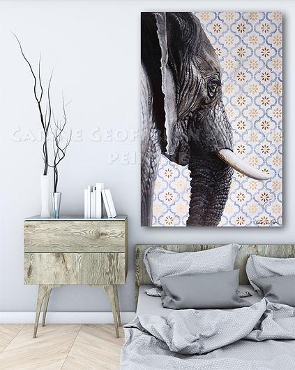 Toile peinture éléphant artiste peintre