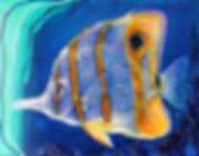 Artiste peintre animalier poisson tropical