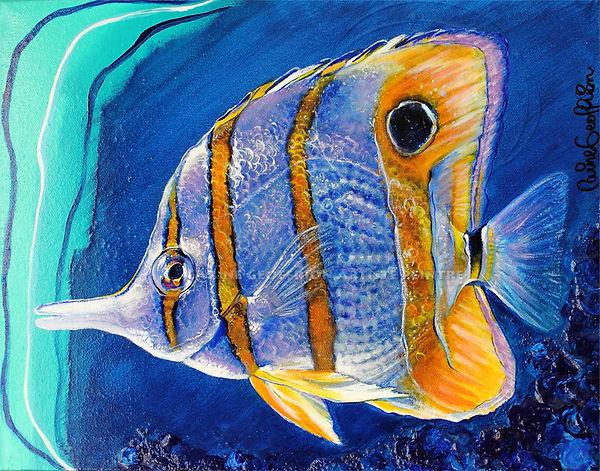 Artiste peintre animalier poisson tropical
