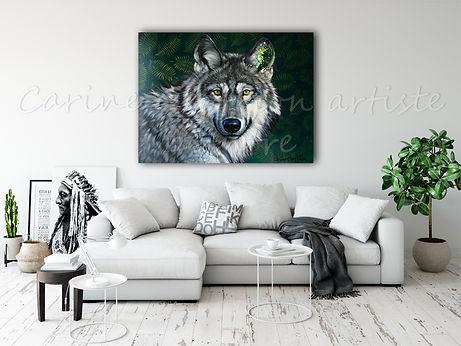 Toile loup peinture wolf artiste peintre animalier