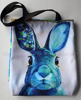 sac fourre-tout lapin bleu artiste peintre animalier québécoise