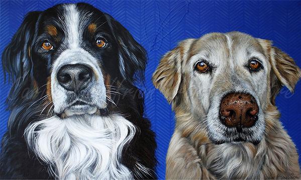 Toile chiens bouvier bernois et labrador, dogs artiste peintre animalier québécoise