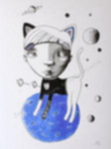 Planète chat, illustration, artiste peintre québécoise, garçon chat, bleu