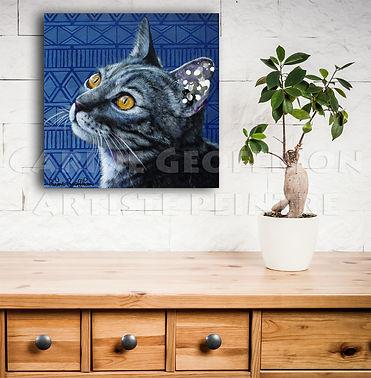 Peinture chat toile animalier