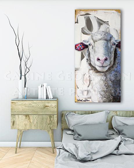 Peinture mouton artiste peintre animalier