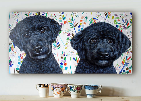 Peinture chiens cobberdog labradoodle artiste peintre animalier québécoise