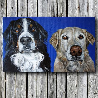 Peinture toile chiens dogs artiste peintre animalier québécoise